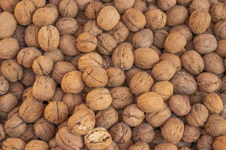 fresh walnuts ready for sale in basket 写真素材