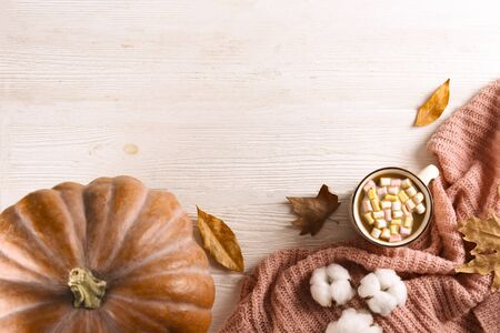 Thanksgiving background concept. Local produce pumpkin and autumn leaves with other decoration on textured table. Close up, copy space for text, top view, flat lay.