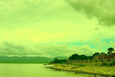 Surrealism vivid seascape coastline. Unity with nature