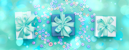 Banner Decorative gift box with a colored background. Top view Flat Lay Фото со стока