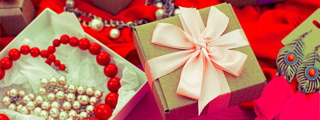 Banner Decorative composition preparation for the holiday Decoration gifts Stockfoto