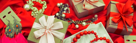 Banner Decorative composition preparation for the holiday Decoration gifts. Purchase a Set of womens jewelry. Blurred background
