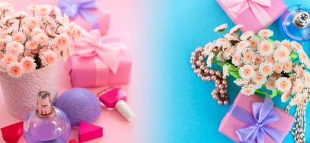 Banner Fashion women accessories cosmetics flowers bouquet gift box bow cocktail on pink background gradient blue. Top view fla tlay copy space 写真素材 - 109617739
