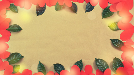 Banner Frame of red hearts green leaves background for text. The concept of Valentine's day