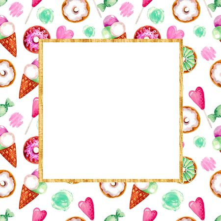 Hand painted acrylic gouache Sweet dessert donuts ice cream heart. Frame for your text