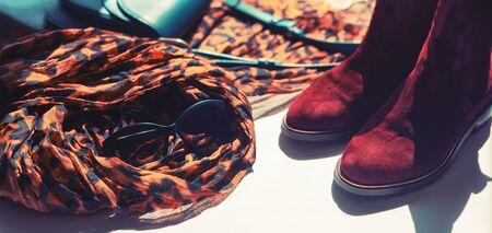 Banner Women accessories light scarf leopard print chelsea boots bag Toning 写真素材