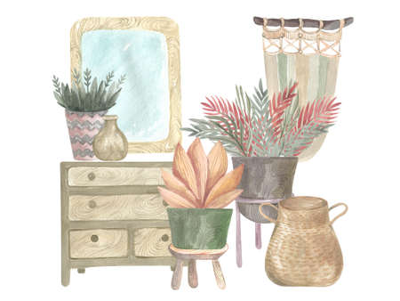 Watercolor house potted plant elements, modern bohemian scene, indoor greenery. Boho Cozy scene design Archivio Fotografico