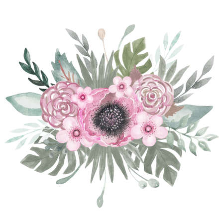 Wedding Botanical arrangement pink flowers, leaves, branches Tropical leaves. Hand-painted floral bouquet boho style. Watercolor illustration