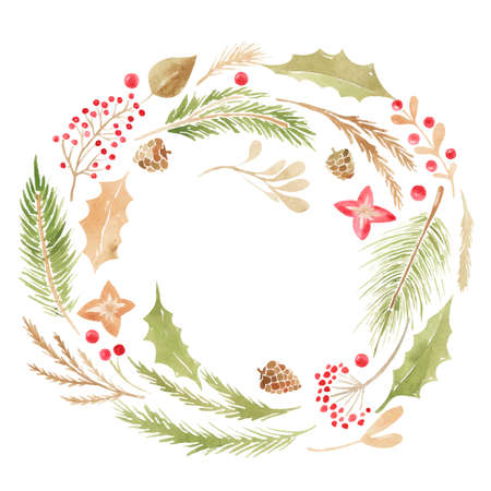 Merry Christmas holiday wreath. Winter floral frame Gold hand lettering scrapbooking set Wedding Xmas card. Scrapbook elements Vector 向量圖像