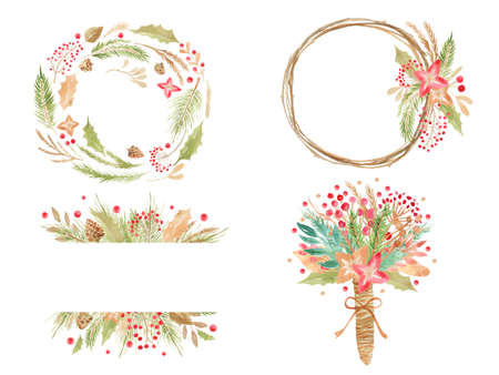 Merry Christmas holiday wreath. Winter floral frame Gold hand lettering scrapbooking set Wedding Xmas card. Scrapbook elements Vector Stock Photo