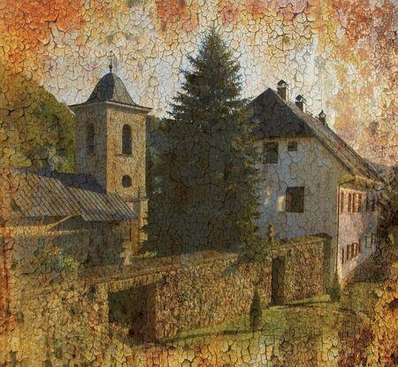 republika: Grunge background photo of orthodox monastery Gomionica, near Banja Luka ,Republika Srpska, Bosnia and Herzegovina