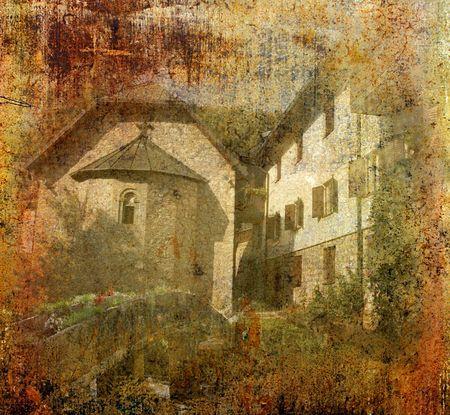 republika: Grunge background photo of orthodox monastery Lovnica, near Sekovici ,Republika Srpska, Bosnia and Herzegovina Stock Photo