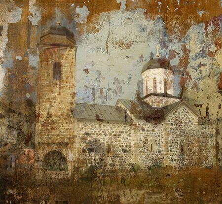 republika: Grunge background photo of orthodox monastery Ozren, near Doboj ,Republika Srpska, Bosnia and Herzegovina