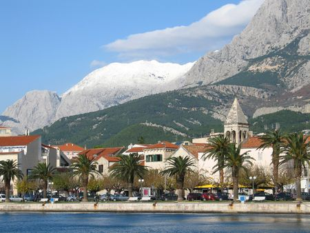 Makarska landscape with mountain Biokovo in the back photo