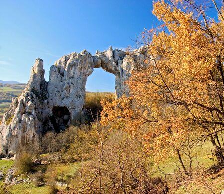 republika: Stone arch on a top of the hill, Rekavice, Republika Srpska, Bosnia Stock Photo