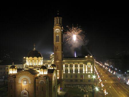 republika: Church, town hall, main city street and fireworks in Banja Luka, Republika Srpska, Bosnia and Herzegovina Stock Photo