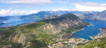 Boka Kotorska bay panorama from the mountain above Stock Photo - 3386132