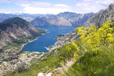 Boka Kotorska bay panorama from the mountain above photo