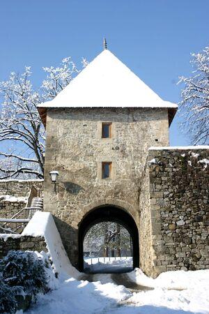 republika: Main entrance in old Kastel castle in Banja Luka, Republika Srpska, Bosnia, winter landscape Stock Photo