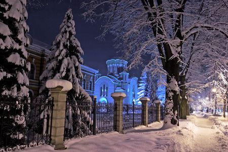 Night view, winter landscape of Holy Trinity church in Banja Luka, Republika Srpska, Bosnia Stock Photo