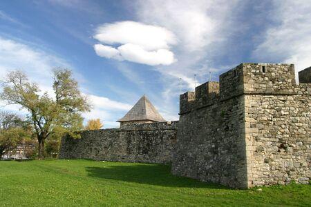 republika: Springtime landscape of old Kastel castle walls and lone tree in Banja Luka, Republika Srpska, Bosnia and Herzegovina