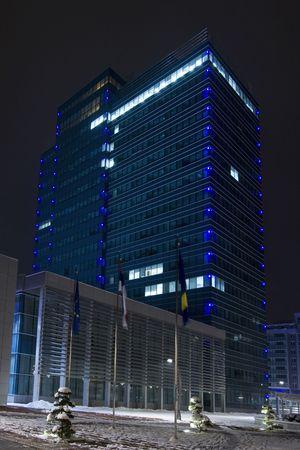 republika: New state administration building by night in Banja Luka, Republika Srpska, Bosnia and Herzegovina Stock Photo