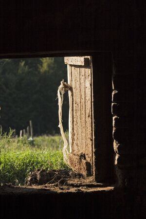 letting: Light and shadow, old wooden stable door halfway open, letting the sun inside Stock Photo