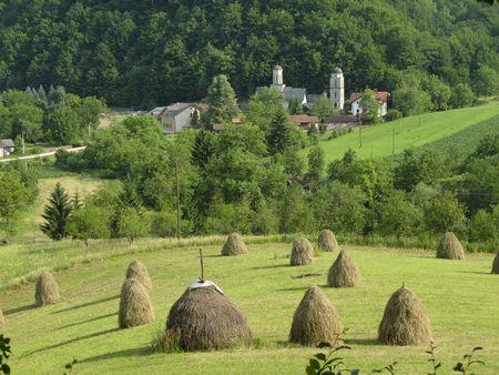 republika: Liplje monastery summer landscape, near Banja Luka, Republika Srpska, Bosnia Stock Photo