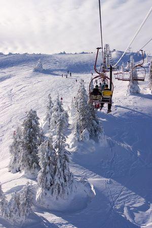 republika: Winter landscape-people skiing on Jahorina mountain, near Sarajevo, Republika Srpska, Bosnia and Herzegovina