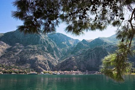 Boka Kotorska bay lanscape with mountains in background, Montenegro Stock Photo - 3589067