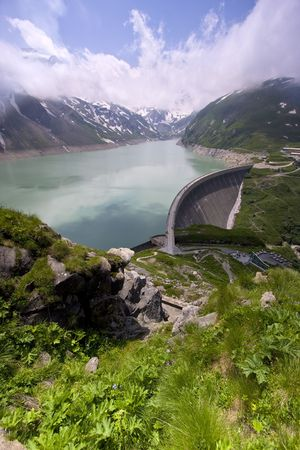 ice dam: Austrian alps lanscape - beautiful green alpine lake Moserboden with dam, Kaprun, Austria
