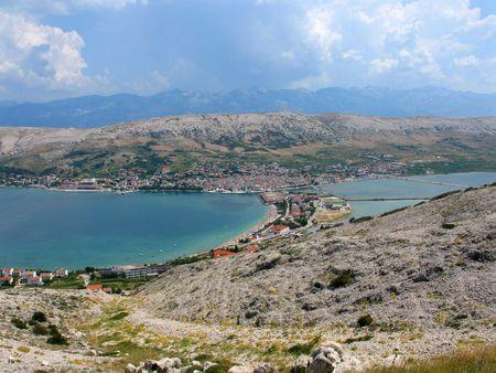 adriatic: Landscape of city of Pag, Pag island, Croatia, Adriatic sea Stock Photo