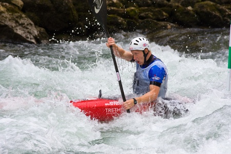 competes: BANJA LUKA, BOSNIA AND HERZEGOVINA - JULY 16: An unidentified athlete from GREAT BRITAIN competes at European Junior and U23 Canoe Slalom Championships on July 16, 2011 in Banja Luka, Bosnia and Herzegovina. The event is from July 14-17, 2011.