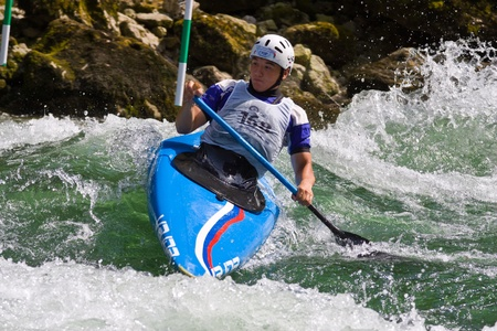 BANJA LUKA, BOSNIA AND HERZEGOVINA - JULY 16: An unidentified athlete from Russia competes at European Junior and U23 Canoe Slalom Championships on July 16, 2011 in Banja Luka, Bosnia and Herzegovina. The event is from July 14-17, 2011.