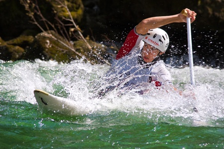 BANJA LUKA, BOSNIA AND HERZEGOVINA - JULY 16: An unidentified athlete from Slovakia competes at European Junior and U23 Canoe Slalom Championships on July 16, 2011 in Banja Luka, Bosnia and Herzegovina. The event is from July 14-17, 2011.