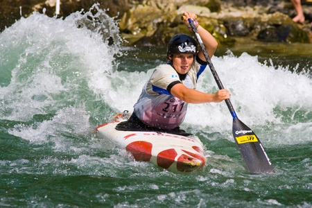 BANJA LUKA, BOSNIA AND HERZEGOVINA - JULY 16: An unidentified athlete from Slovenia competes at European Junior and U23 Canoe Slalom Championships on July 16, 2011 in Banja Luka, Bosnia and Herzegovina. The event is from July 14-17, 2011. Stock Photo - 10354636