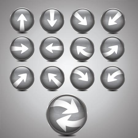 Metallic silver arrow icon set Stock Vector - 13487714