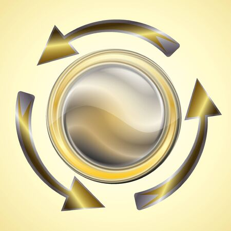 Golden glossy arrows reload circle Vector