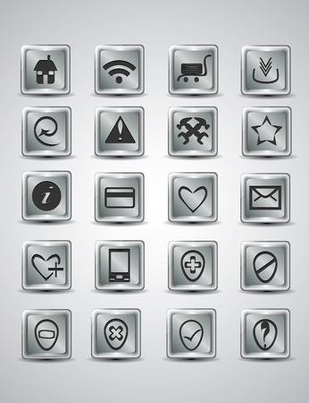 Unique silver metallic icon set for your webpage Vector