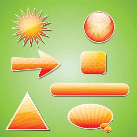 Orange textured icon set with shadow Vector