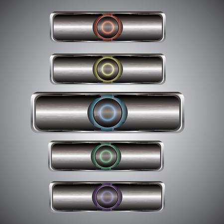 blueray: Silver metallic play button icon set Illustration