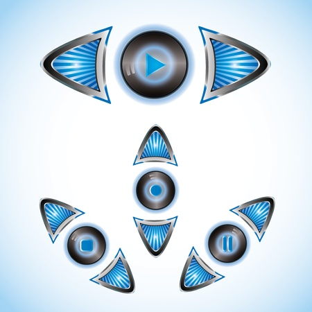 Blue shining blue striped play buttons with arrows Vector