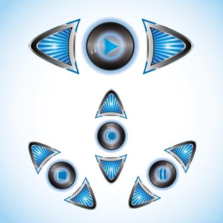 Azul brillante de color azul a rayas con botones de reproducción flechas