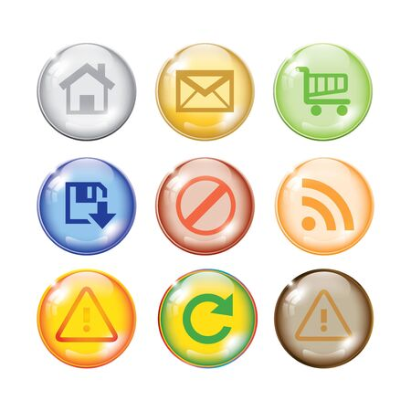Glossy shiny multi color icon set for web websites  Vector