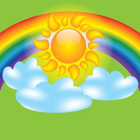 Summer design elements sun clouds and rainbow Stock Vector - 13487718