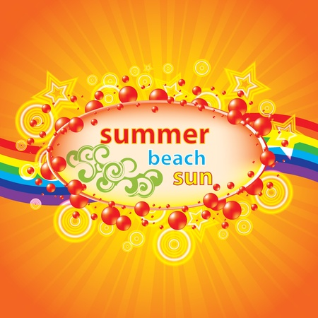 Colorful summer background with bubbles and rainbow Vector