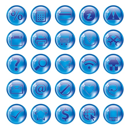 Glossy blue icon set for web websites Stock Vector - 13721714