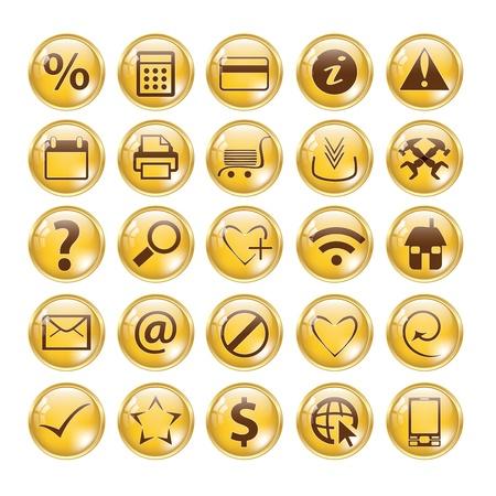 druckerei: Gl�nzend Gold Icon-Set f�r Web-Seiten Illustration