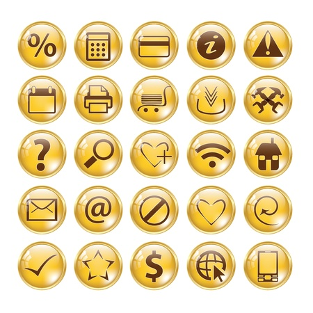 print shop: Glossy gold icon set for web websites