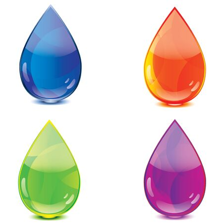 waterdrop: Blue orange green purple drops icon set